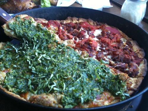 1/2 Spinach Pesto Pizza, 1/2 Potato Pancetta Pizza
