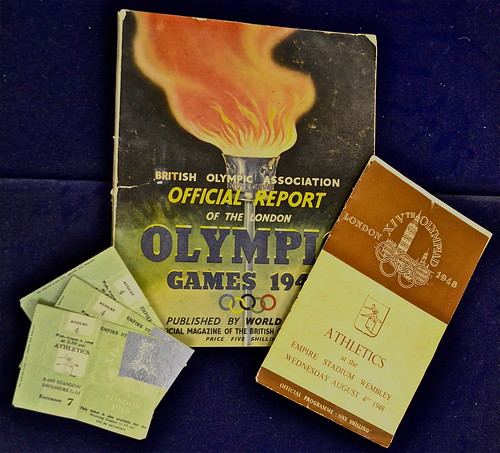A programme, ticket and report from the London Olympic Games 1948