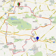 18. Bike Route Map. Etra Lake Park, Hightstown, NJ