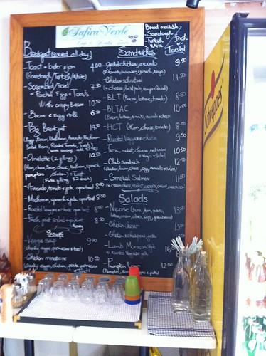 menu - safira verde - woolloomooloo