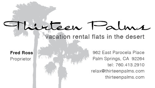 thirteen palms business card, back
