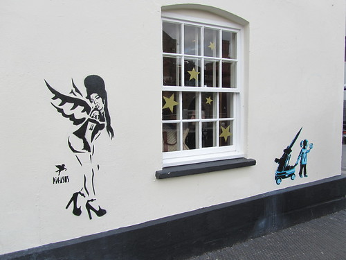 Amy Winehouse by Pegasus and another stencilled piece, by Camden Lock