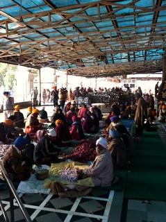 Comida comunitaria en el templo dorado de Amritsar (religión de mi familia)