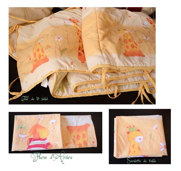 Couture serviette de table dans un tour de lit