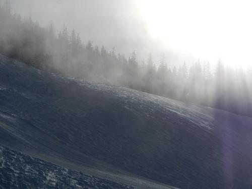 snow in the morning fog