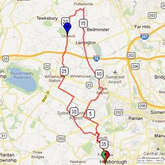 01. Bike Route Map. Somerset Valley YMCA, Hillsborough, NJ