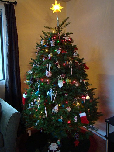 The fully-decorated tree