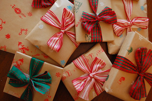 Our handmade wrapping paper.