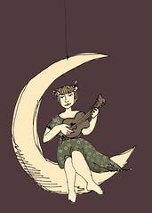 Eu toco ukulele na lua. Agora em versão sépia.