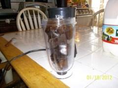 Coffee ice cubes in blender jar