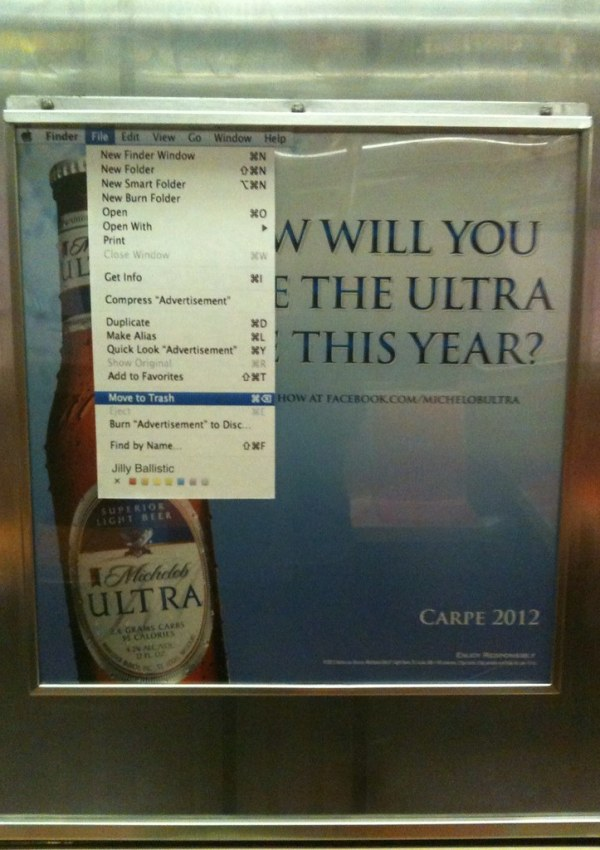"""""""How will you live the ultra life this year?"""" File>Move Ad to Trash"""