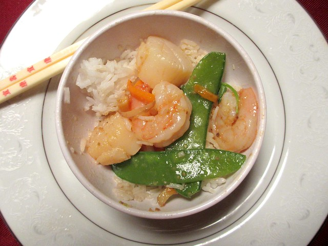 Sauteed prawns and scallops in XO sauce