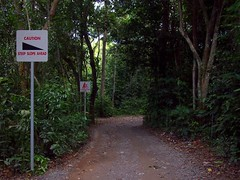 Warning signs. Pulau Ubin