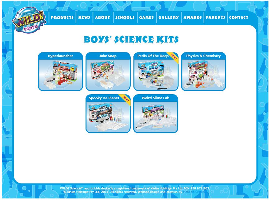 Screenshot of Wild Science Boys' Science Kits, including Joke Soap, Weird Slime Lab, etc