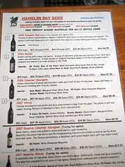 Hamelin Bay Cellar Door Tasting WIne List and Prices