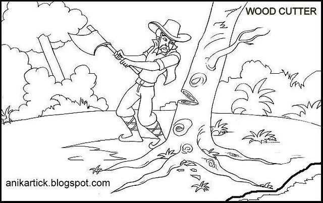 Children's Story-board illustration for Wood cutter's