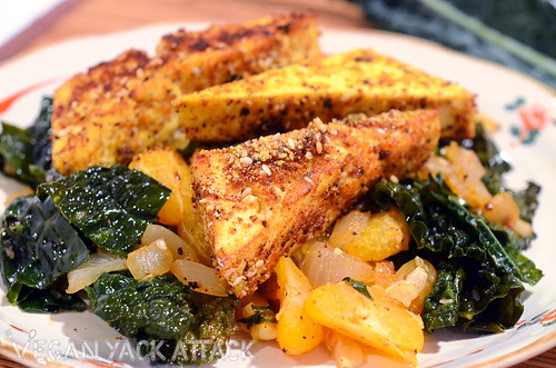 A healthy, seasonal dinner, this Sesame Crusted Tofu with a Satsuma Kale Stir Fry comes together quickly and easily!