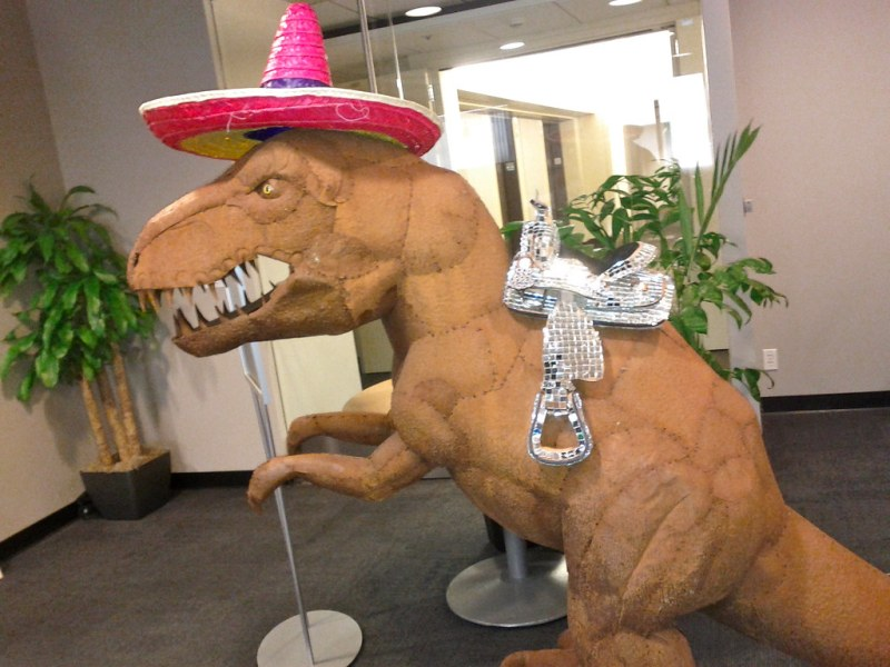 Sparkly saddle and pink sombrero for the Dino @ mozilla HQ mountain view