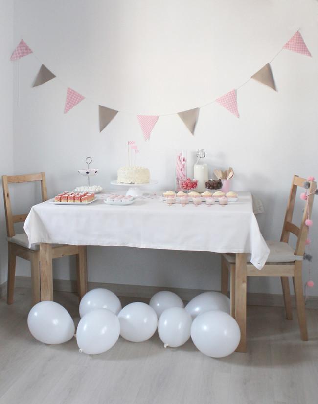 Cumpleaños rosa y beige