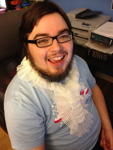 Matt is fancy wearing my Greer scarf!