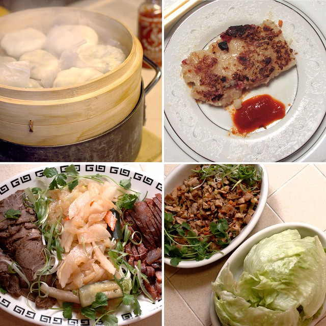 Clockwise from upper left: gow choi gau, lo bak go, trio appetizer platter, and minced chicken with lettuce wraps