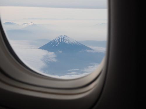 飛行機からみた富士山