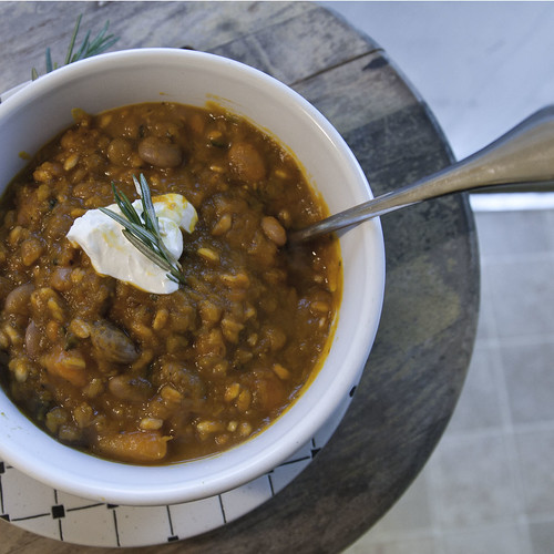 Pinto Bean and Farro Stew with Roasted Kuri Squash and Carrots