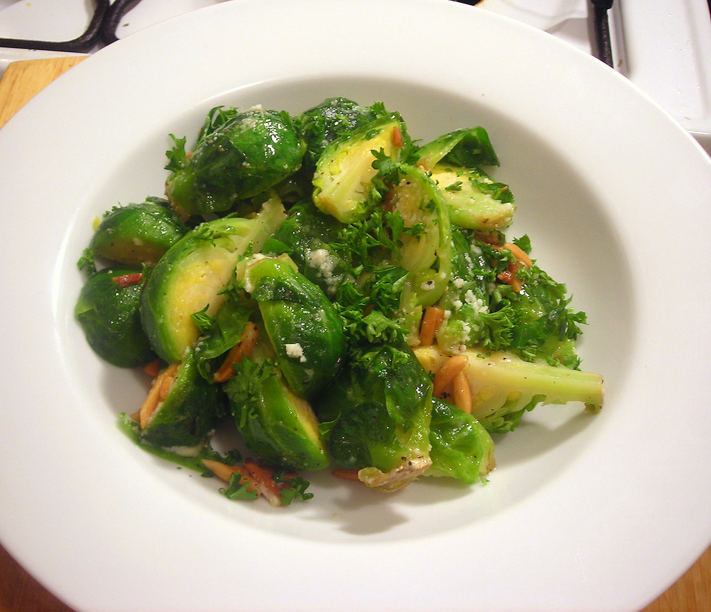 Brussel sprouts, with slivered almonds and pecorino cheese