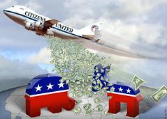Citizens United Carpet Bombing Democracy - Cartoon
