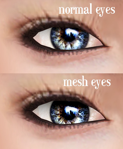 normal eyes vs mesh eyes