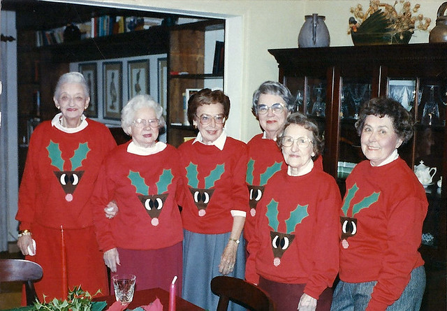 A group of Nannie's friends  in matching reindeer sweatshirts