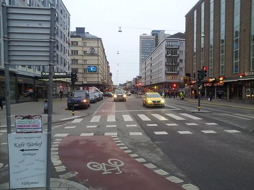 Taxi respecting bike lane @Södermalm Stockholm Sweden