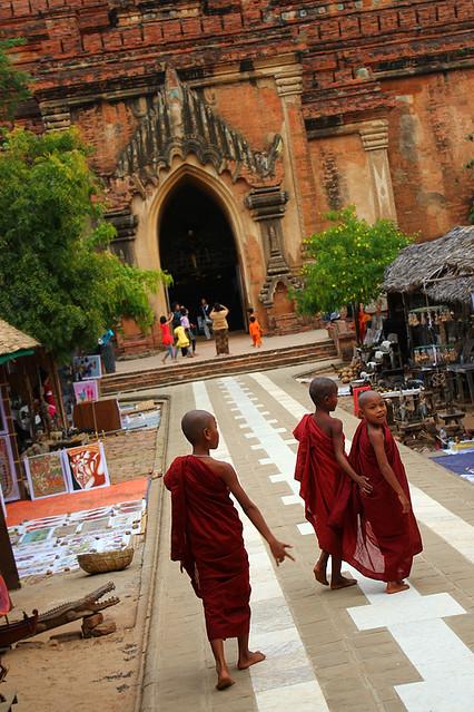 Novices entering a temple in Bagan