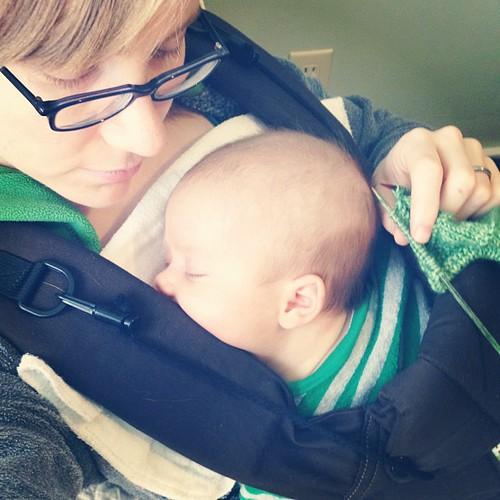 Knitting while Maddy naps