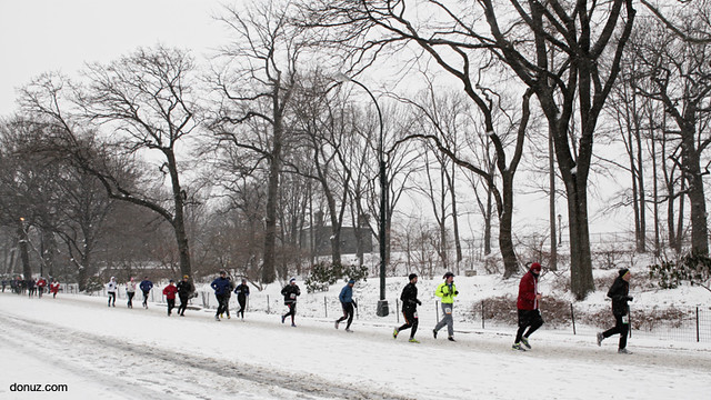 central park half marathon 2012 in snow