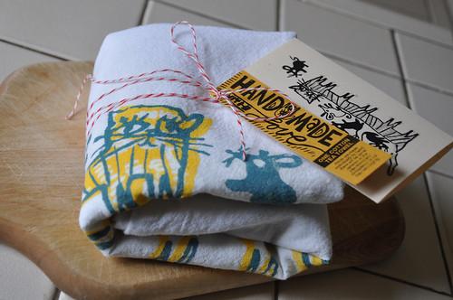 cat-erpillar and friends kitchen towel
