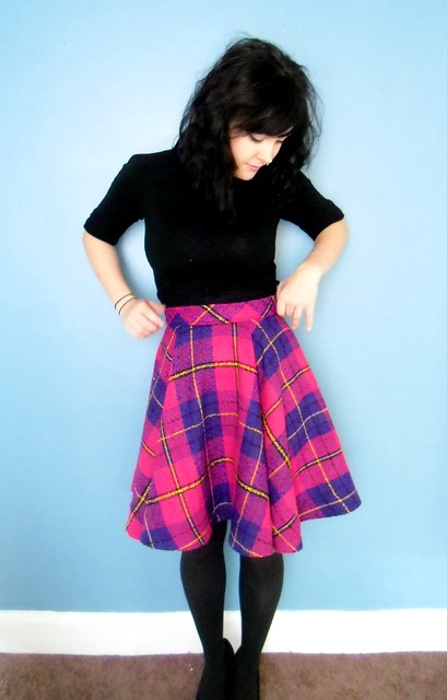 plaid circle skirt - waistband