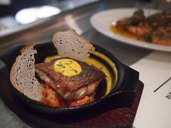 BBQ Sea Bass, roasted almond, romesco, aioli. Esquina Tapas Bar, Jiak Chuan Road, Keong Saik, Tanjong Pagar