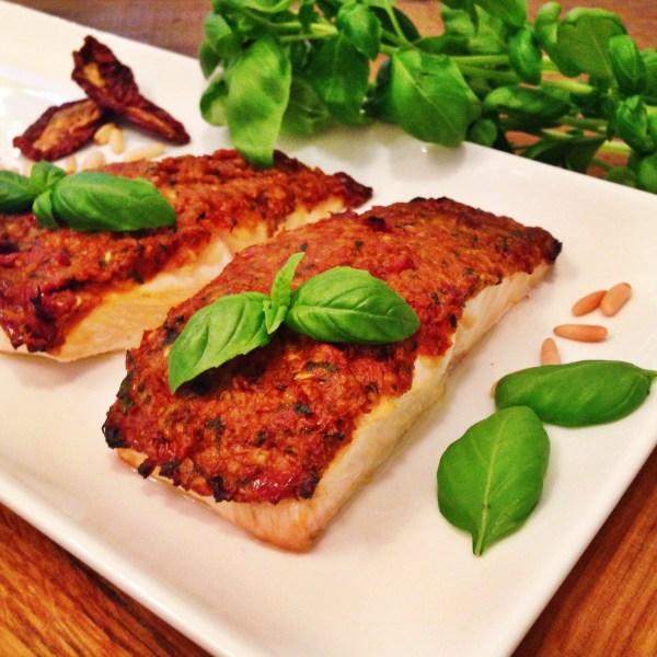 Baked salmon with a sundried tomato pesto crust InnerFight