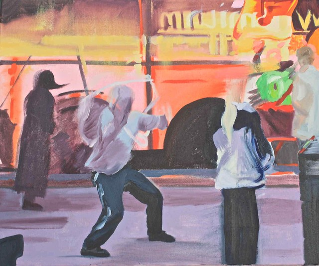 Janet E Davis, Street dancer with umbrella, oils on canvas, 2009. JED2_H72_020838
