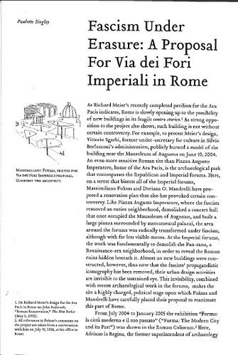 "[ROMA - I FORI IMPERIALI] - Prof. Paulette Singley, ""Fascism Under Erasure - A Proposal for Via dei Fori Imperiali,"" LOG No. 8, (2006), pp. 143-151 [PDF pp. 1-6]. by Martin G. Conde"