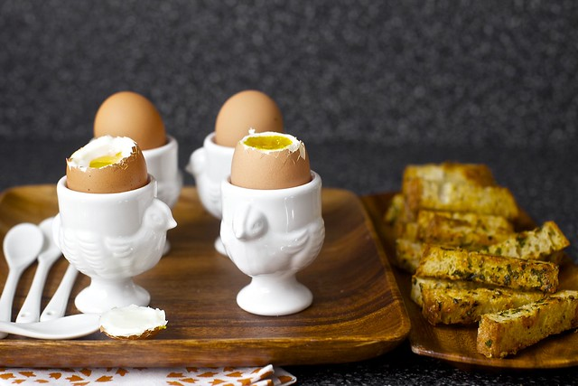soft eggs with buttery herb-gruyere toasts