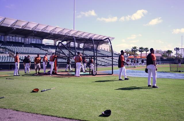 Orioles take batting practice