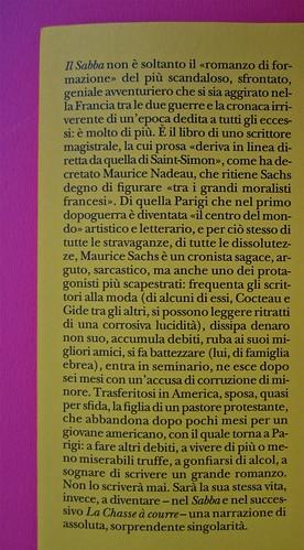 Maurice Sachs, Il Sabba, Adelphi 2011. [Resp. grafica non indicata]. Risvolto di copertina (part.), 1