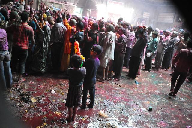 children partake in the festivity as crowd disperses