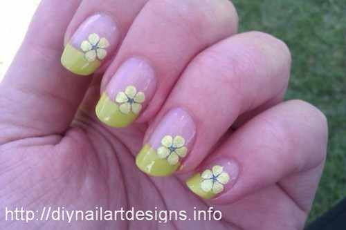 Easy DIY Nail Art Designs: Lime Green French Tip with Flower Decals