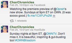 Oprah Tweets Blissdom Three