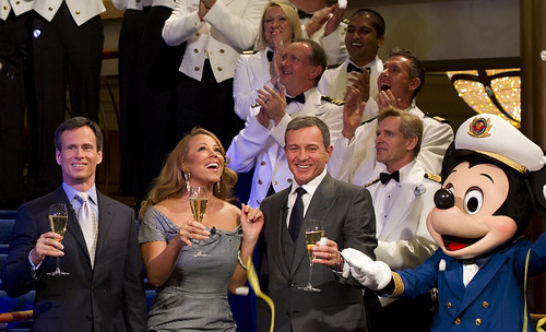 Tom Staggs, Mariah Carey, Bob Iger, and Mickey Mouse
