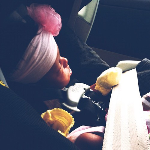Baby girl sound asleep in the car #vscocam #latergram