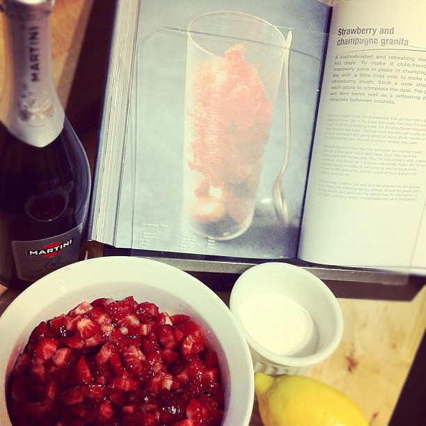 Strawberry & Champagne Granita ingredients